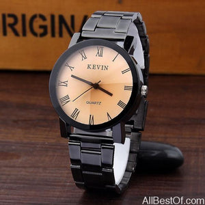New Design Unisex Watches Fashion Black Round Dial Stainless Steel Band Quartz WristWatch - AllBestOf.com