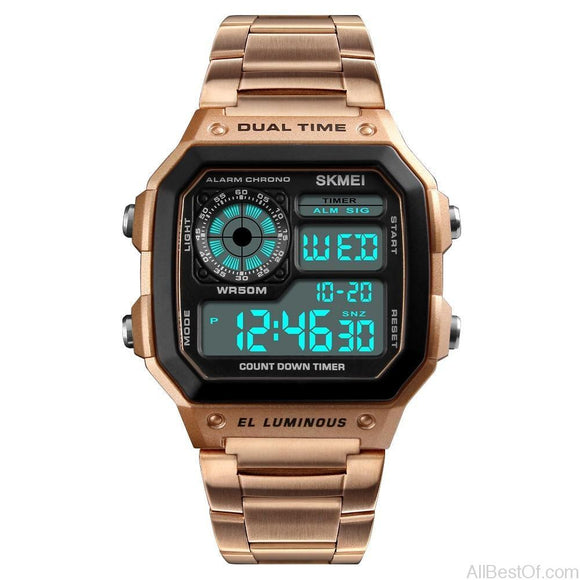 Rose Men Sports Watches Count Down Waterproof Watch Stainless Steel Fashion Digital Wristwatches - AllBestOf.com