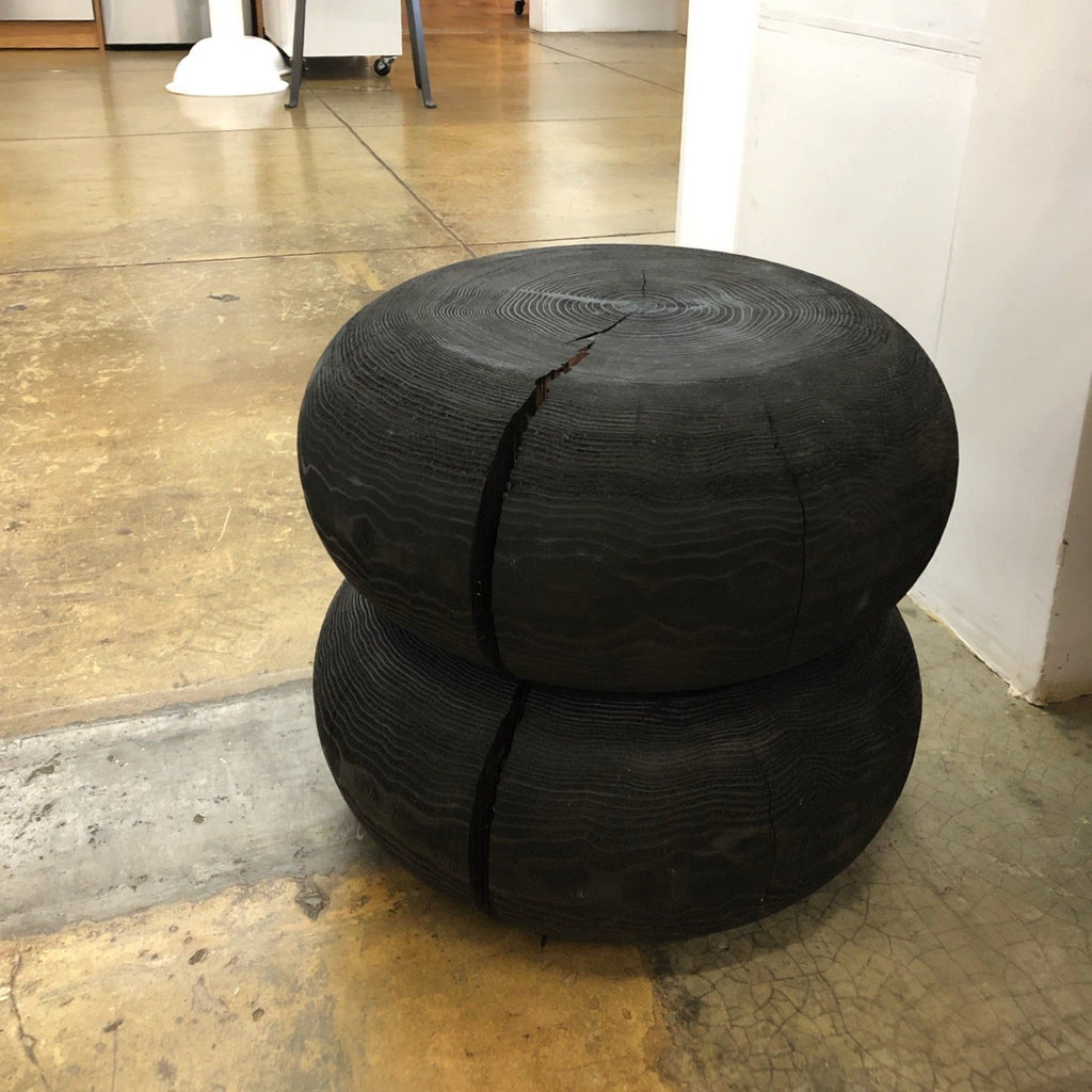 2 Tier Black Stained Wood Stool by Khii Studio - tortoise general store