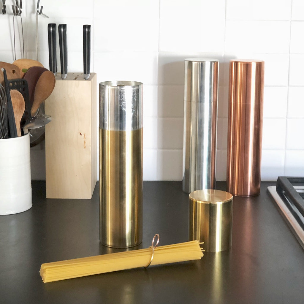 Brass Kaikado Pasta Canister with Pasta Measure