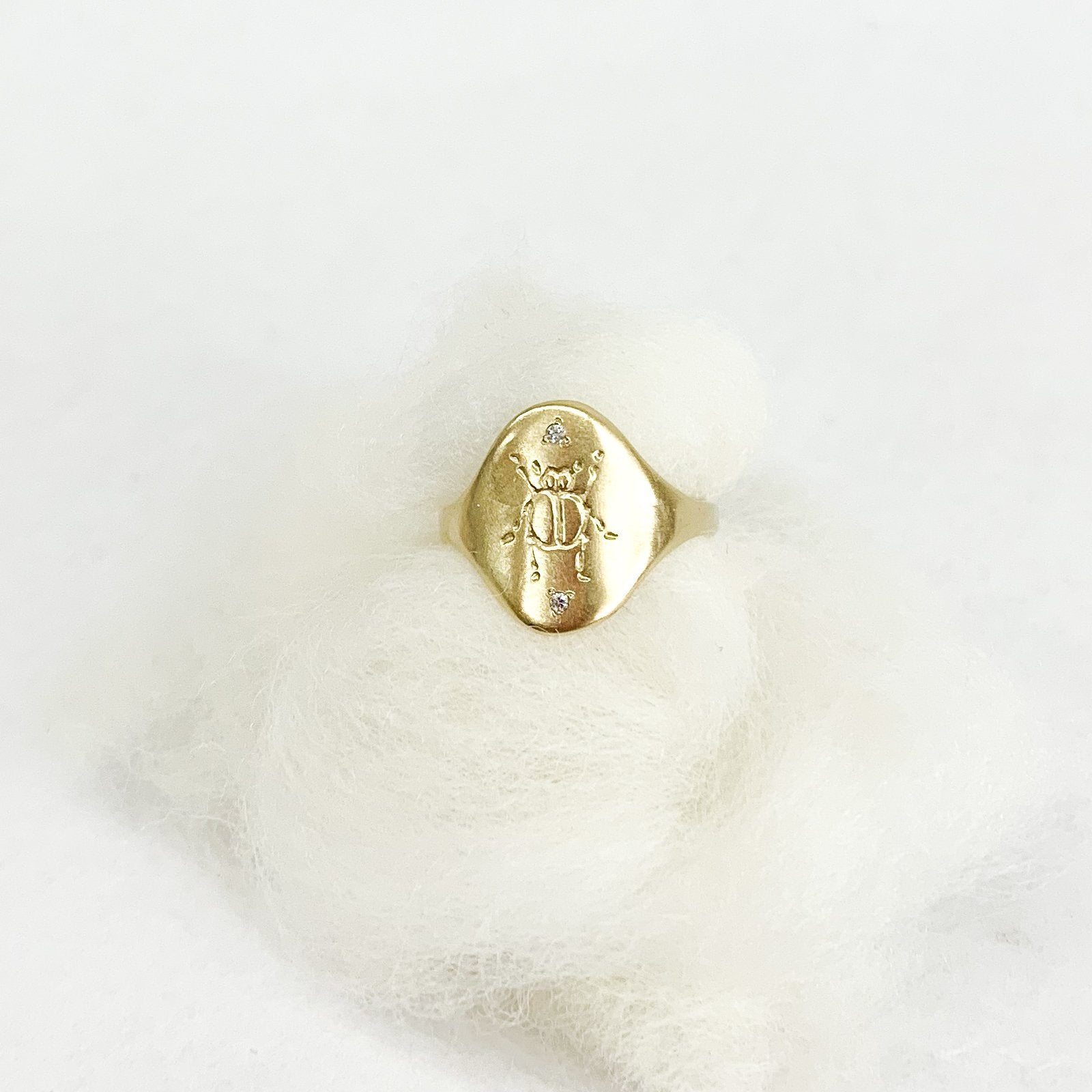 Black Barc Kogane - tortoise general store, beetle signet ring with diamonds by Mizuki Tsurtaka, 14k yellow gold