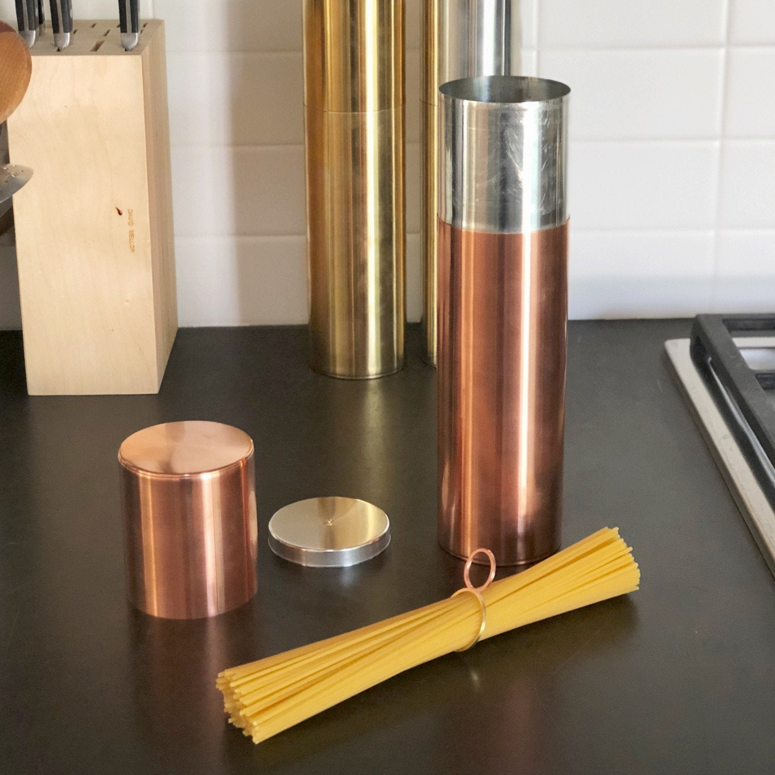 Copper Kaikado Pasta Canister with Pasta Measure - tortoise general store