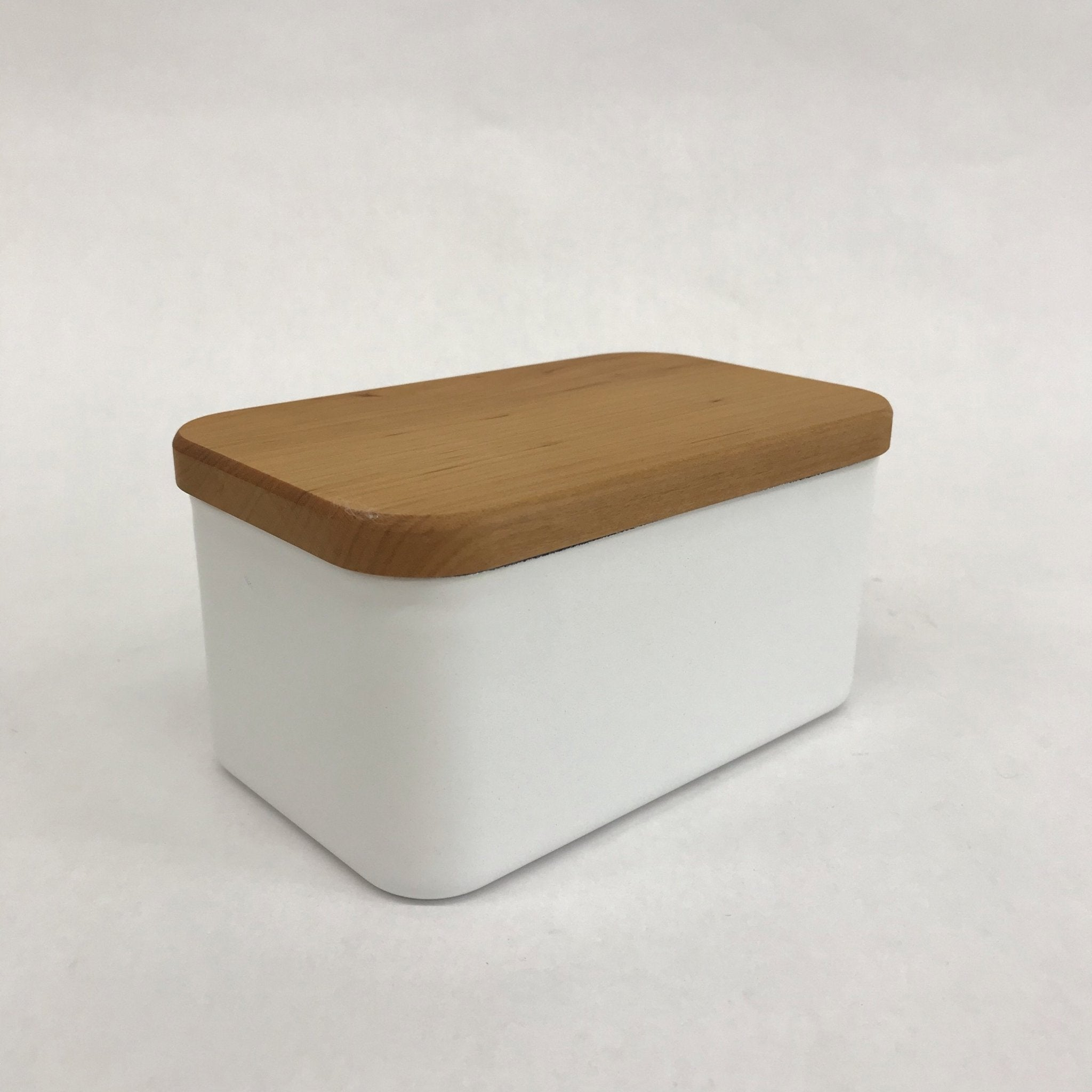 Enamel butter case w/wood - tortoise general store