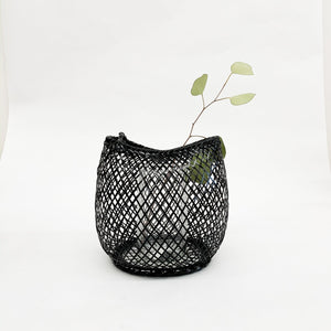 Kosuga Flower Basket Black - tortoise general store, hand woven bamboo flower basket, oboro basket
