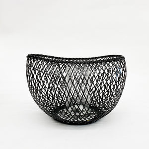 Kosuga Flower Basket Black - tortoise general store, hand woven bamboo flower basket, mayu basket