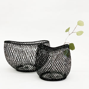 Kosuga Flower Basket Black - tortoise general store, hand woven bamboo flower basket