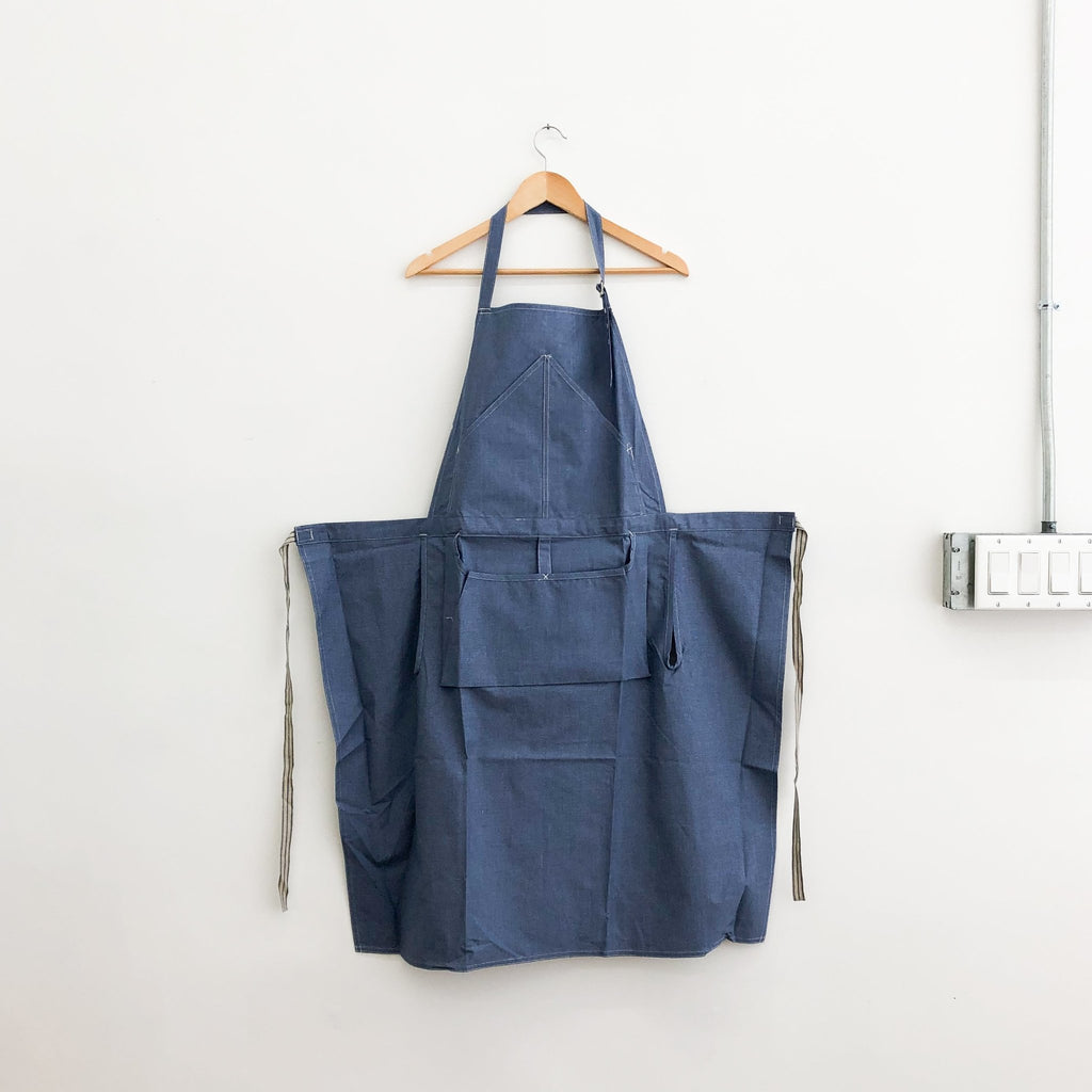 Light Blue Bibbed Apron (Hakui 6909-1) - tortoise general store