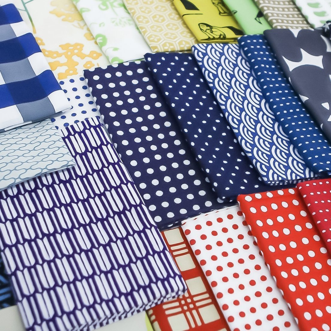 Colorful tenugui fabric cloths in many patterns