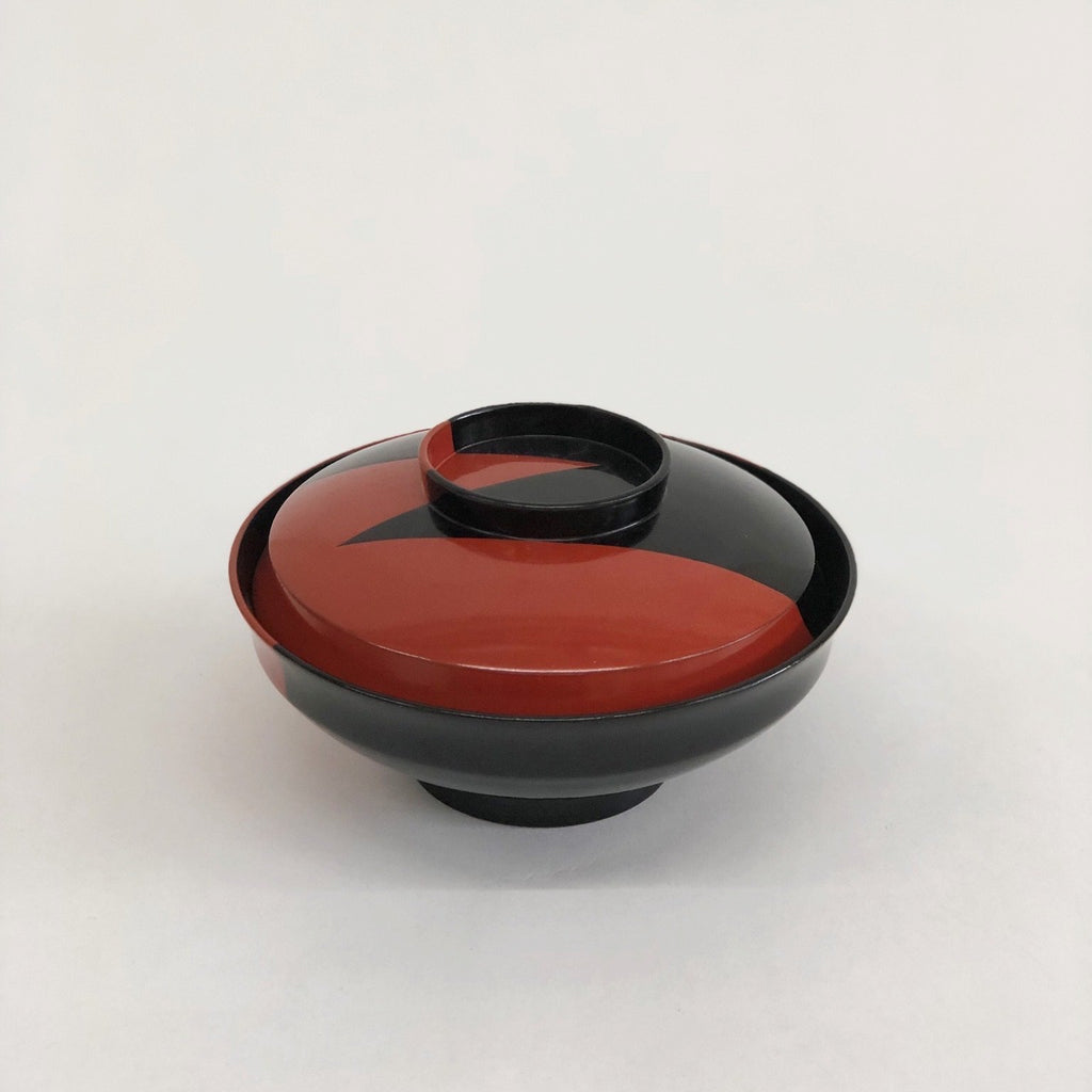 Vintage Owan Soup Bowl - Red and Black Bolt - tortoise general store