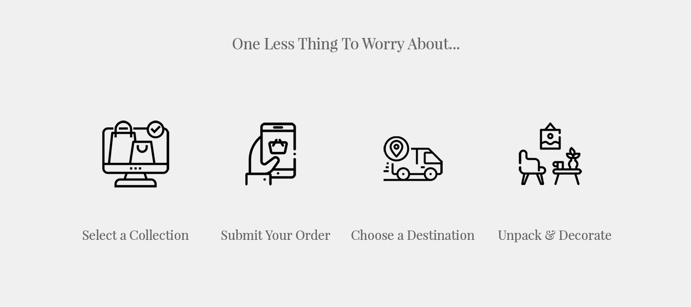 One less thing to worry about. Select a collection, Submit your order, Choose a Destination and Unpack and Decorate