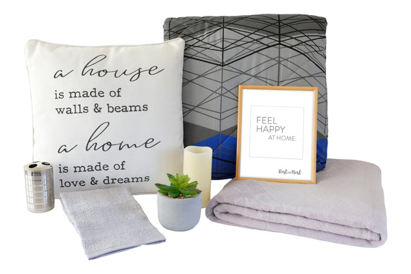 Nursing Home Decor Collection, comforter, pillow, frame, inspirational quotes, soft blanket, flameless candle, fake plant, two hand towels and toothbrush holder
