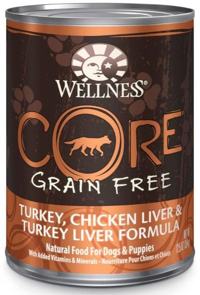 Wellness CORE Grain Free Natural Turkey, Chicken and Turkey Liver Recipe Wet Canned Dog Food