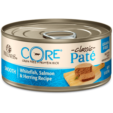 Wellness CORE Grain Free Natural Whitefish, Salmon & Herring Smooth Pate Canned Cat Food
