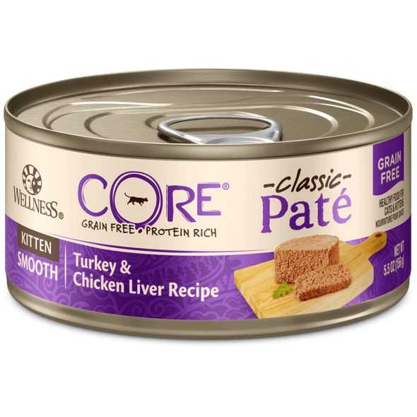 Wellness CORE Grain Free Natural Kitten Health Turkey and Chicken Smooth Pate Canned Cat Food