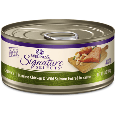 Wellness Signature Selects Grain Free Natural White Meat Chicken and Wild Salmon Entree in Sauce Wet Canned Cat Food