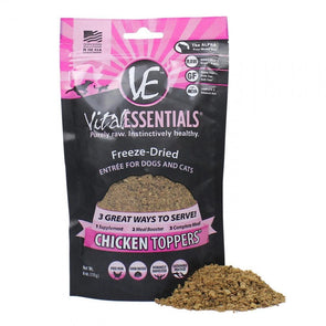 Vital Essentials Freeze Dried Chicken Toppers for Cats and Dogs Food