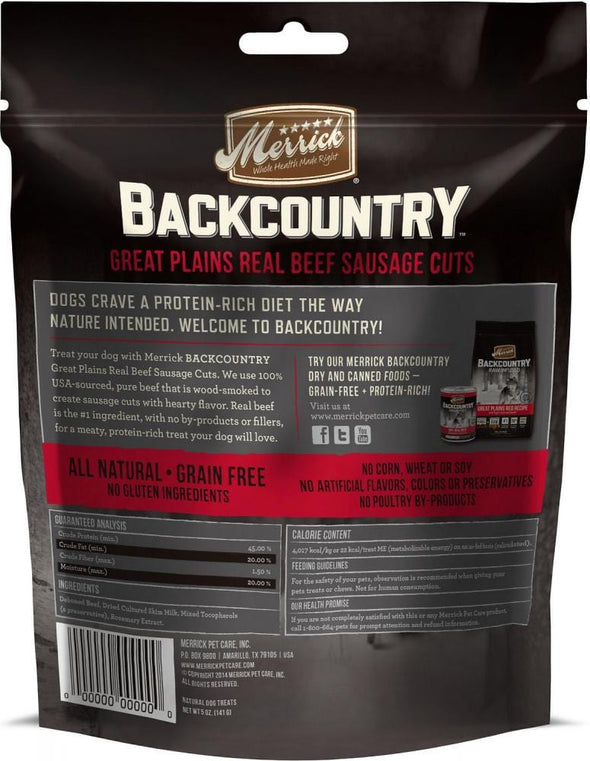 Merrick Backcountry Great Plains Grain Free Real Beef Sausage Cuts Dog Treats