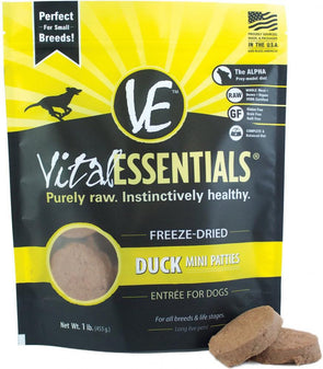 Vital Essentials Freeze Dried Grain Free Duck Mini Patties Entree for Dogs Food