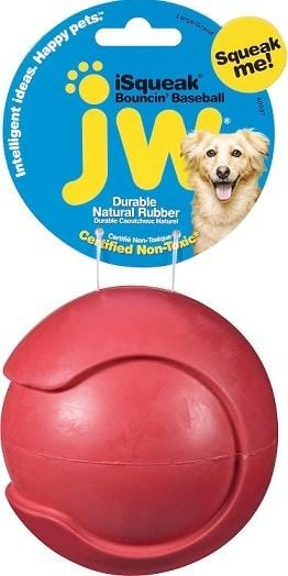 JW Pet iSqueak Bouncin Baseball Dog Toy