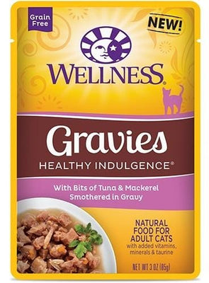 Wellness Healthy Indulgence Natural Grain Free Gravies with Tuna and Mackerel in Gravy Cat Food Pouch