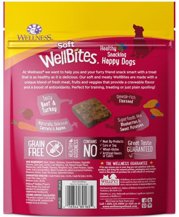 Wellness Natural Grain Free Wellbites Soft Beef and Turkey Recipe Dog Treats