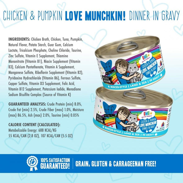Weruva BFF Oh My Gravy Love Munchkin Grain Free Chicken and Pumpkin in Gravy Canned Cat Food