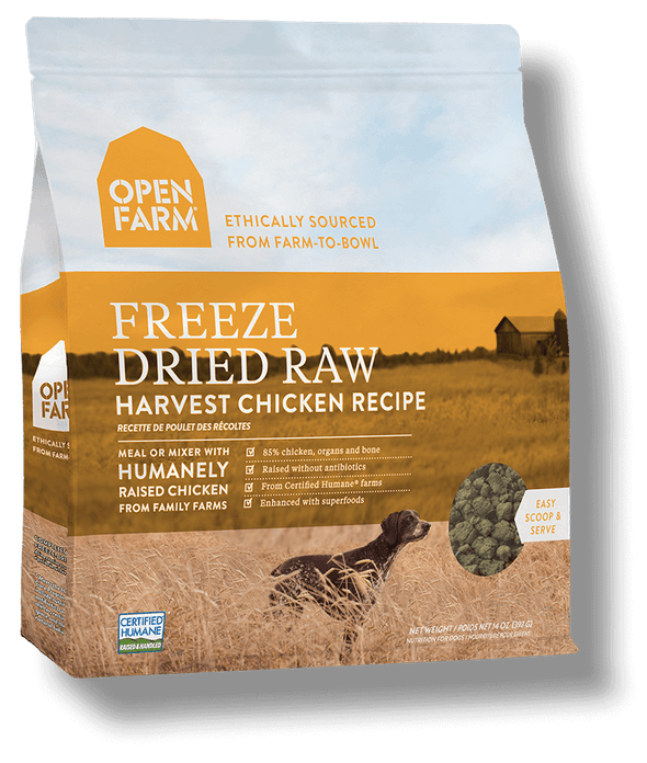 Open Farm Grain Free Harvest Chicken Recipe Freeze Dried Raw Dog Food