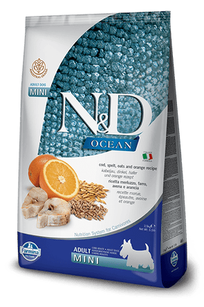 Farmina Ocean N&D Natural & Delicious Ancestral Grain Mini Adult Cod, Spelt, Oats & Orange Dry Dog Food