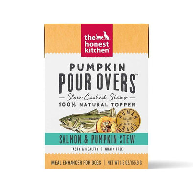 The Honest Kitchen Pour Overs Grain Free Salmon & Pumpkin Stew Recipe Single Food Topper for Dogs