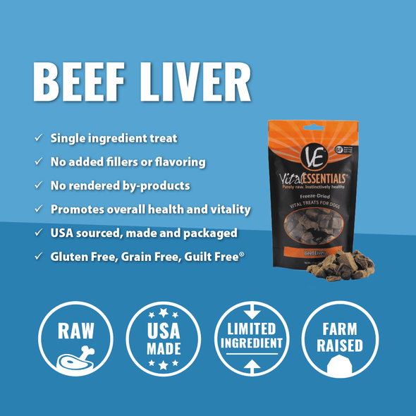 Vital Essentials Freeze Dried Grain Free Beef Liver Limited Ingredient Dog Treats