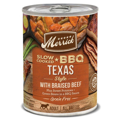 Merrick Grain Free Slow Cooked BBQ Texas Style Beef Recipe Canned Dog Food