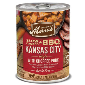 Merrick Grain Free Slow Cooked BBQ Kansas Style Pork Recipe Single Canned Dog Food