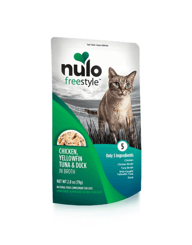 Nulo Freestyle Grain Free Chicken Yellowfin Tuna & Duck in Broth Meaty Cat Food Topper Pouch