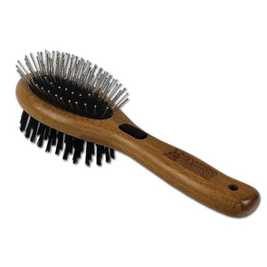 Bamboo Groom Combo Brush with Bristles and Stainless Steel Pins for Pets