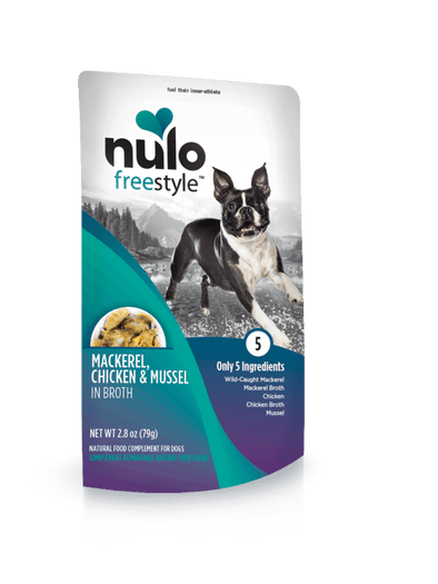 Nulo Freestyle Grain Free Mackerel Chicken & Mussel in Broth Meaty Dog Food Topper Pouch