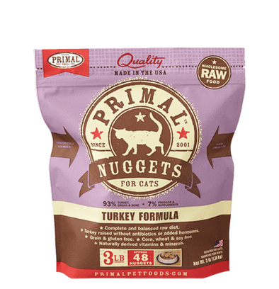 Primal Raw Frozen Nuggets Turkey Formula For Cats