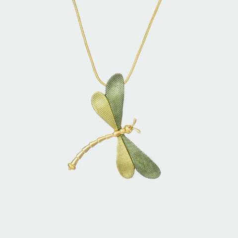 Forest Dragonfly Necklace - Lime