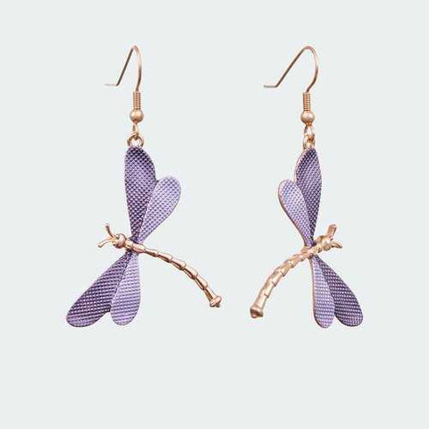 Forest Dragonfly Earrings - Lilac