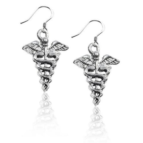 Medical Symbol Charm Earrings in Silver