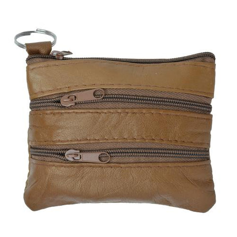 Soft Leather Coin Zipper Wallet By AFONiE-Brown Color