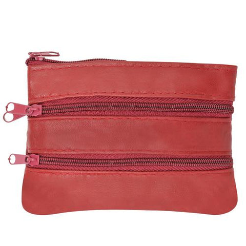 Soft Leather Coin Zipper Wallet By AFONiE-Red Color