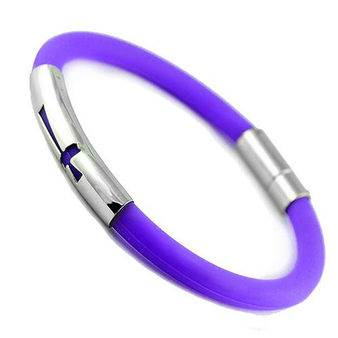 Round Pruple Rubber Bracelet With Cross Cut Out Design