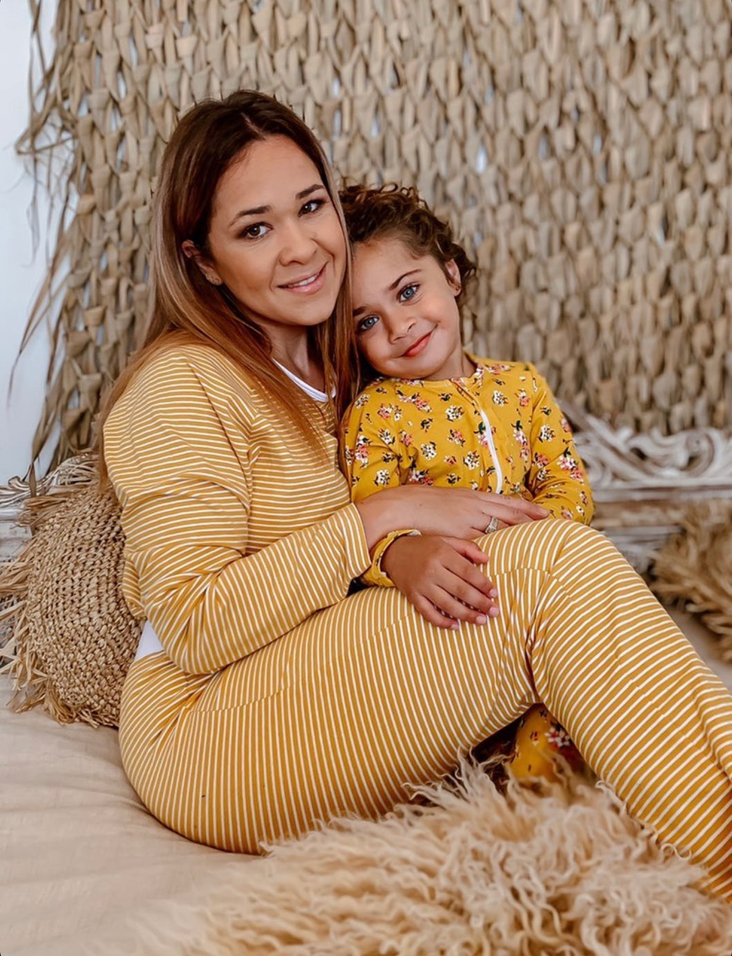 Mustard Striped & Floral Sleepwear