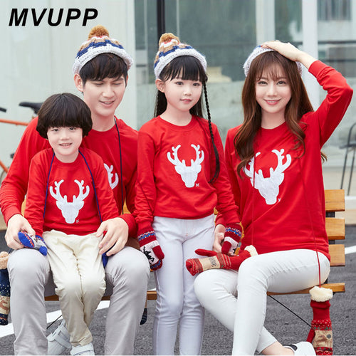 9d3288f0359b MVUPP Deer Christmas Sweater Mommy and Me family matching clothes tshirt  Sets Mom Dad Son Baby