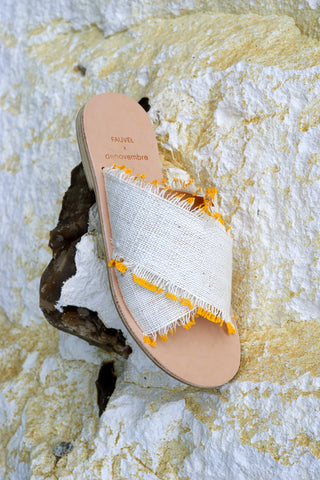 EYELASH - CROSS SANDALS - YELLOW