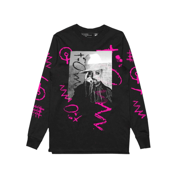 BOY GEORGE PHOTO LONG SLEEVE BLACK TEE