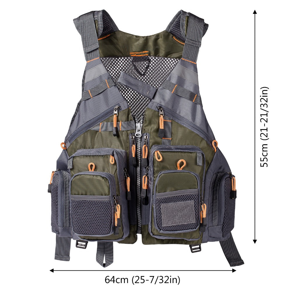 Fishing Vest Adjustable for Men and Women, for Fly And Bass Fishing and Outdoor Activities