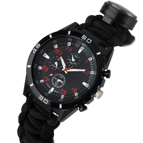 Multifunction Military Grade Survival Watch With Paracord Band And Compass