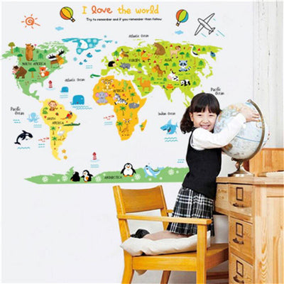 Children Kids World Map Wall Sticker Art