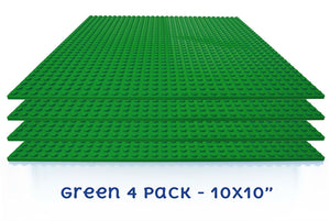 "BreoLife Baseplates (4 pieces of 10"" x 10""), Works with Major Brick Building Sets, Wonderful Plate for Kids (Green)"